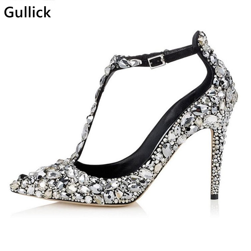 Luxury Women Wedding Shoes Twinkling Rhinestone Crystal Dress Shoes High Heels Elegent Pointed Toe Ankle Strap High HeelsLuxury Women Wedding Shoes Twinkling Rhinestone Crystal Dress Shoes High Heels Elegent Pointed Toe Ankle Strap High Heels