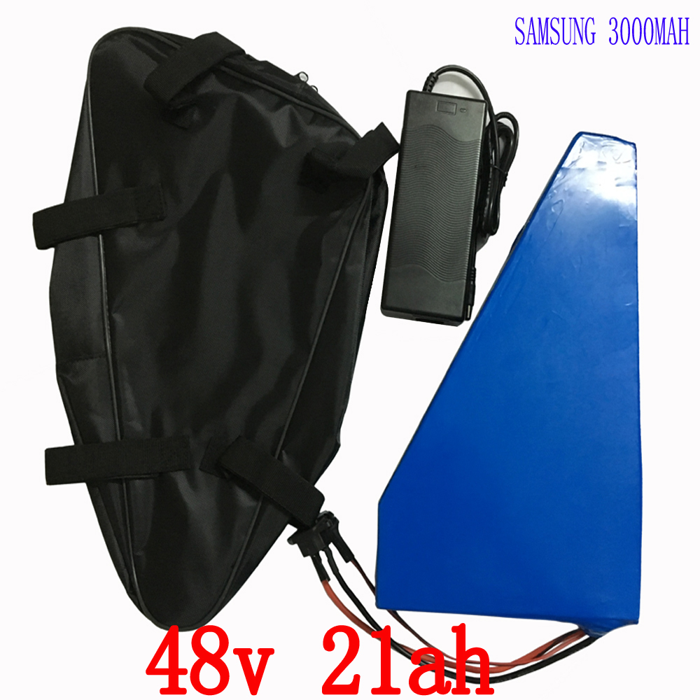 48V 1000W Triangle battery 48V 21AH electric bike battery 48v 20ah Lithium Battery pack use samsung cell with 54.6V Charge+bag48V 1000W Triangle battery 48V 21AH electric bike battery 48v 20ah Lithium Battery pack use samsung cell with 54.6V Charge+bag