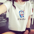 Harajuku Japanese Tee Shirt Femme Cartoon Doraemon T shirt Women 2017 Summer O-neck Short Sleeve Mujer Tops Tees Free Shipping