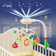 Bebé Musical Cuna Campana de la Cama Móvil Juguetes De Plástico Colgando Sonajeros Juguetes Recién Nacido 0-12 Meses de Proyección Estrellada Giratoria soporte