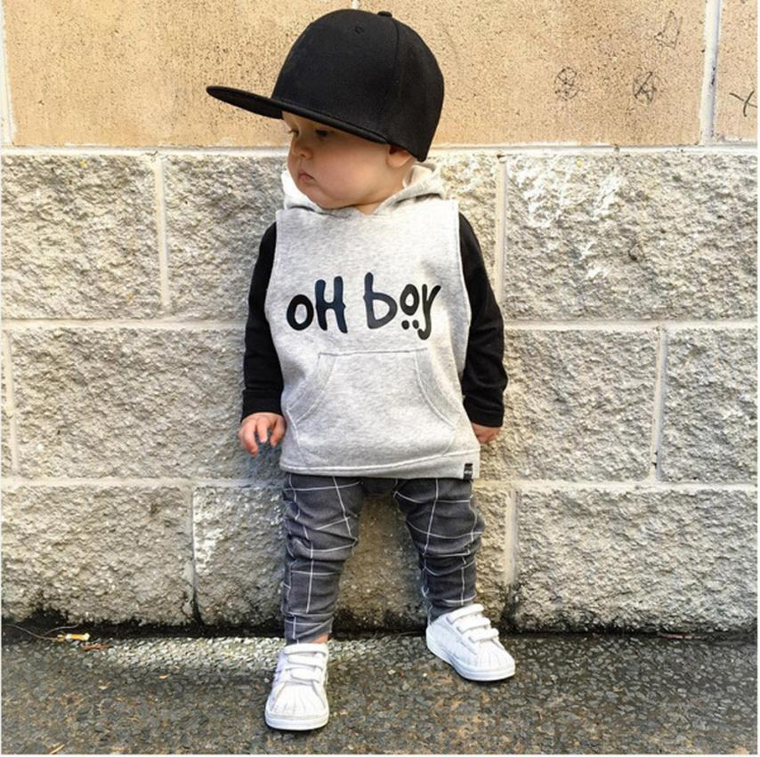 NEW Arrival Toddler Infant Baby Girl Boy Clothes Set Fashion Hooded Tops+Pants Outfits baby set cool stylish August 9 одежда на маленьких мальчиков