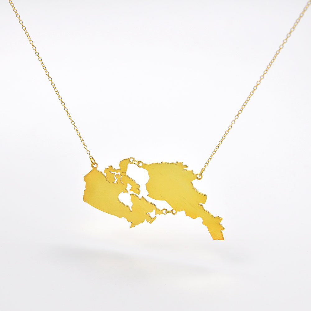 c6b2634555fb1 US $34.0  Wholesale Personalized Gold Map Necklace 2 Custom Map Connect  Keepsake Necklace Big World Map Necklace Hip Hop Jewelry-in Pendant  Necklaces ...