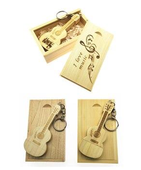 (over 10 pcs free logo) Customer LOGO wooden guitars model usb flash drive memory Stick pendrive 8G 16GB 32GB gift  + Wood box