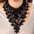 2015 de las mujeres negro lace choker collar babero encanto beads cluster colgante de regalo 759b