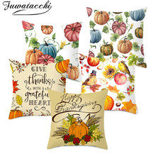 Fuwatacchi  Thanksgiving Letter Cushion Cover Home Pumpkin Painting Pillows Covers Decorative Throw for Sofa Decorations
