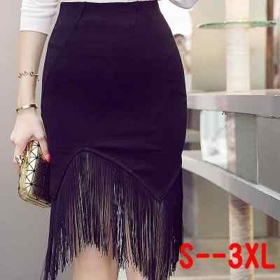 Otoño primavera negro paquete cadera Sexy Midi Falda Mujer moda alta  cintura gótico Irregular borla Bodycon e2e271664919
