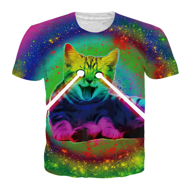 56d3691b9ac New Fashion Space Galaxy Men T-Shirt Funny Print Super Power Cat Laser Eye  3D