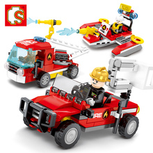 SEMBO Building Blocks 3 IN 1 Fire Alarm fire Truck Aircraft Sets Bricks kids Educational Toys for Children Gift