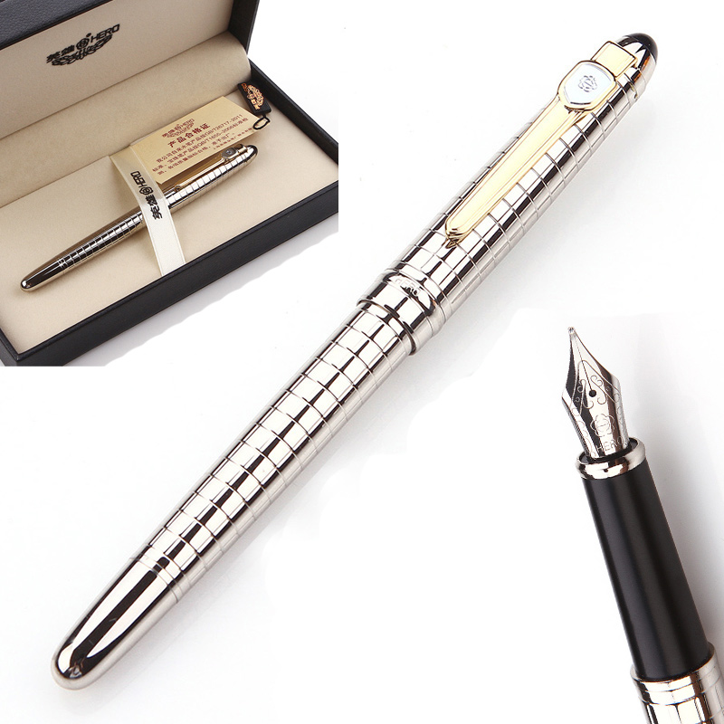 Hero 1095 High Quality Silver Metal Iridium Fountain Pen Luxury Classic 0.5mm Ink Pens for Writing Free Engrave Gift Pen Set hero 573 black silver square grid senior iridium fountain pen fountain pen classic free shipping