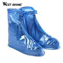 WEST BIKING Waterproof Rain Shoe Cover Thicken PVC Fishing Cycle Rain Boot Flat Non-slip Overshoes Rain Gear Cycling Shoes Cover