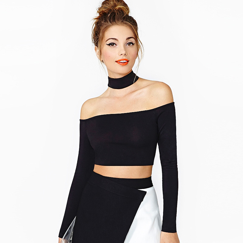 0338f7febea448 Halter Long Sleeve Crop Top Slash Neck Black Top T Shirt White T Shirt Off  The Shoulder Tops For Women Tee Shirt Femme-in T-Shirts from Women's  Clothing on ...