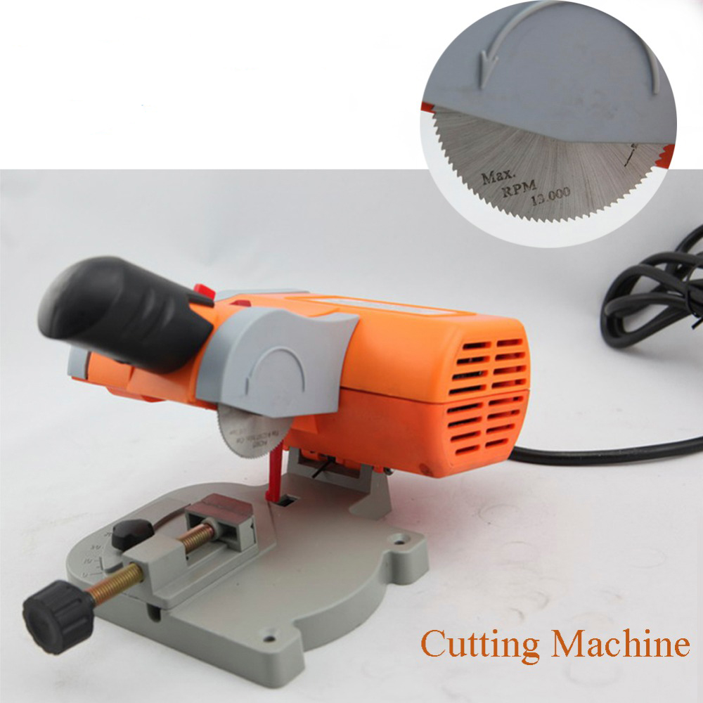 220V Table Cutting Machine Bench Mini Cut-off 0-45 Miter Saw Steel Blade 3 8inch For cutting Metal Wood Plastic