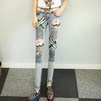 Kl1213 3D узор вышивка блестками джинсы для девочек Женская мода рваные узкие брюки длинные штаны