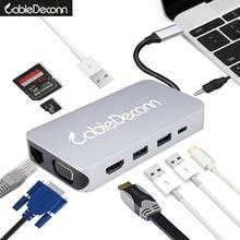 Thunderbolt 3 dock station USB C Hub usb3.1 Type C to HDMI VGA  Gigabit Ethernet RJ45 DC jack3.5mm adapter for macbook pro 2017 аксессуар адаптер apple thunderbolt to gigabit ethernet adapter md463zm a