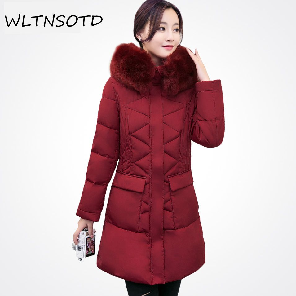 2017 Long Parkas Women Winter Jacket Coat Big Fur Collar Plus Size Thick Cotton Padded Hooded warm Jacket Female women winter coat leisure big yards hooded fur collar jacket thick warm cotton parkas new style female students overcoat ok238
