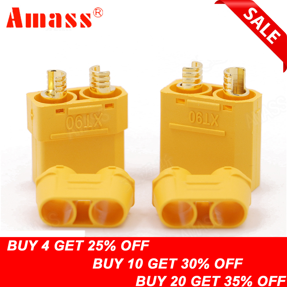 4pcs/lot Amass XT90 Battery Connector Set 4.5mm Male Female Gold Plated Banana Plug (2 pair)4pcs/lot Amass XT90 Battery Connector Set 4.5mm Male Female Gold Plated Banana Plug (2 pair)