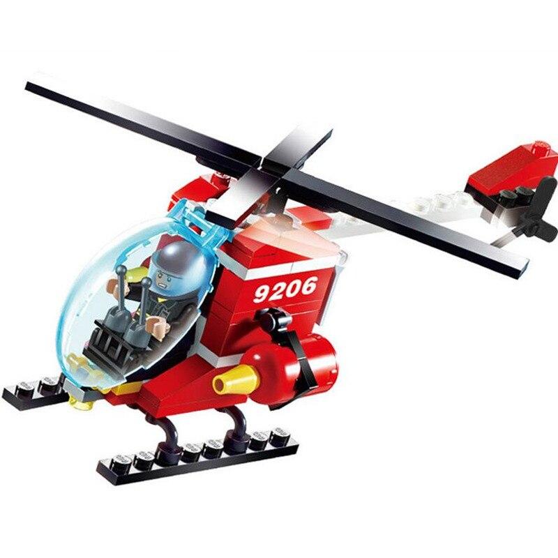 Blocks Model Building Kits GUDI City Off Road Fire Rescue Helicopter Blocks Bricks Building Blocks Sets Educational Toys