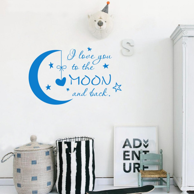 Clic I Love You To The Moon And Back Kids Quotes Nursery Wall Decals Baby Room