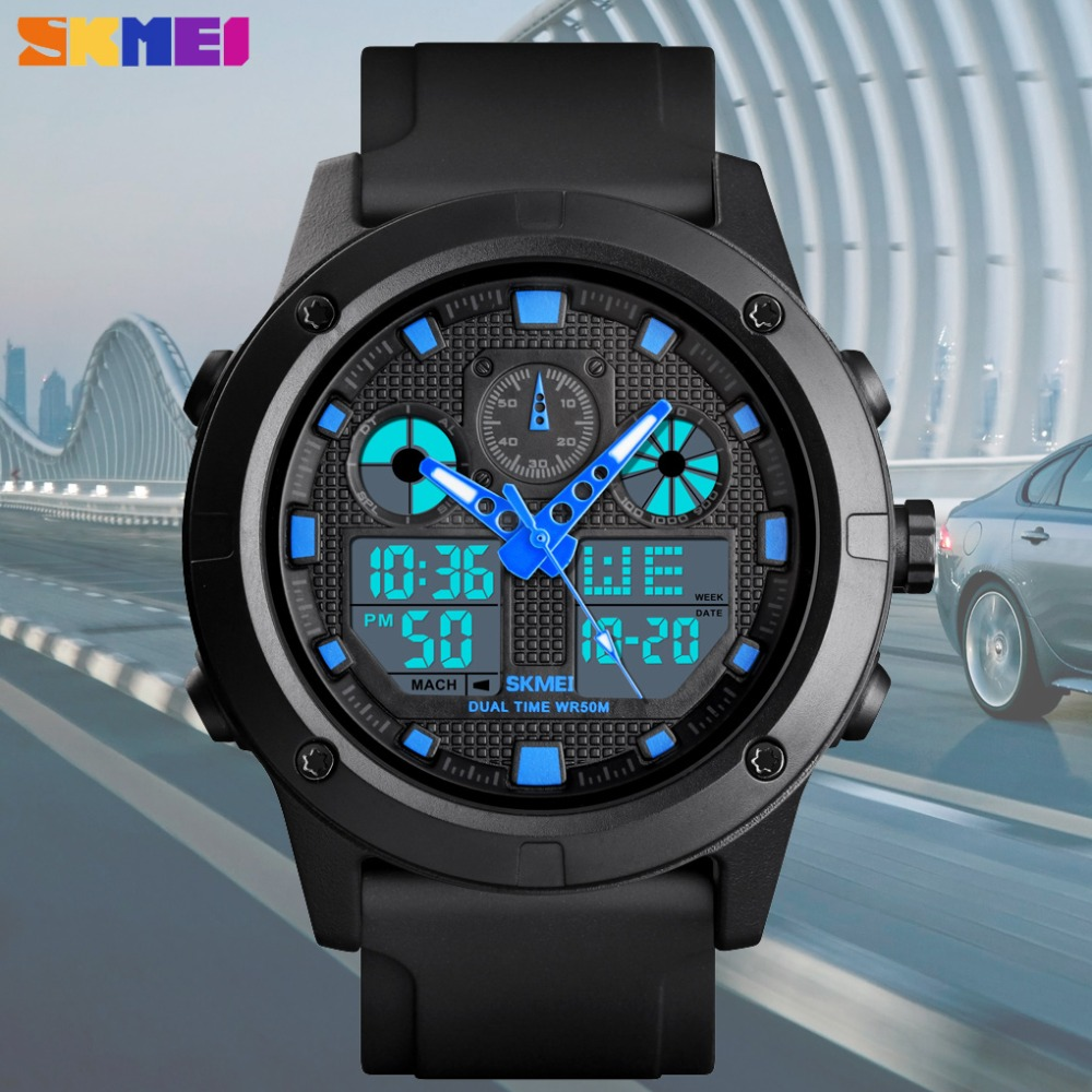 <font><b>SKMEI</b></font> Casual Digital Outdoor Sport Watch Men New Luxury Military Waterproof Chronograph Dual Display Wristwatch erkek kol saati image