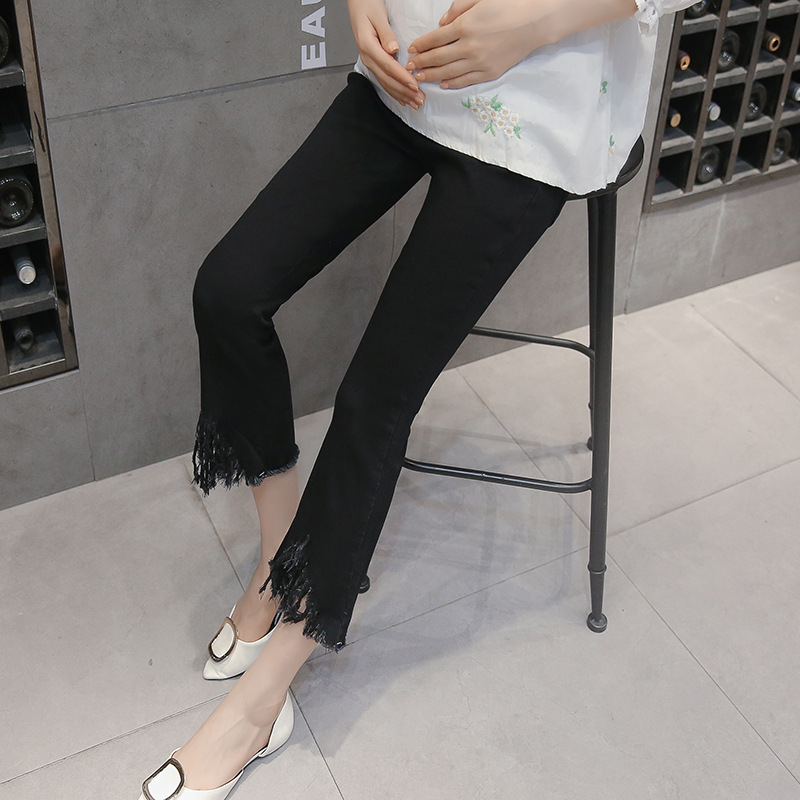 New High Elastic Pregnant Jeans Lifting Belly Fringed Cropped Pants Pregnant Trousers Cowboy Trumpet Pants Maternity Clothes