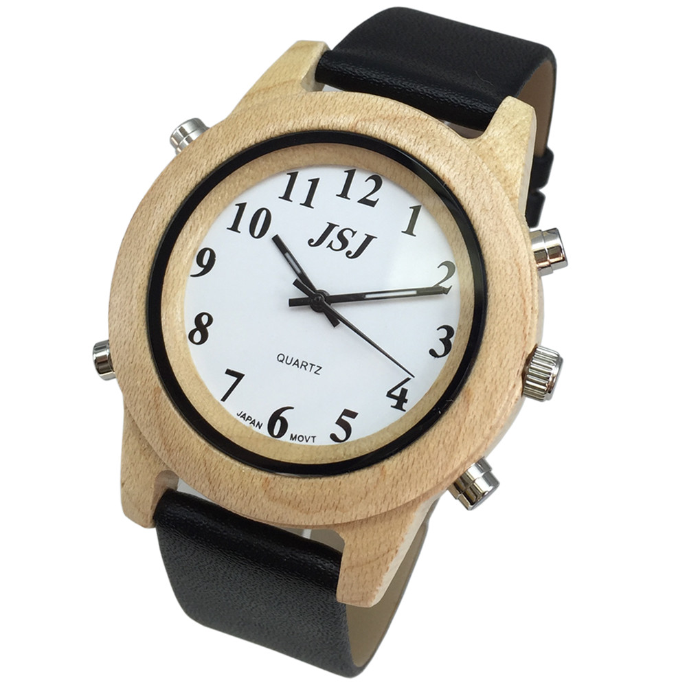 English Talking Watch With Alarm, White Dial, Wooden Frame, Leather Band