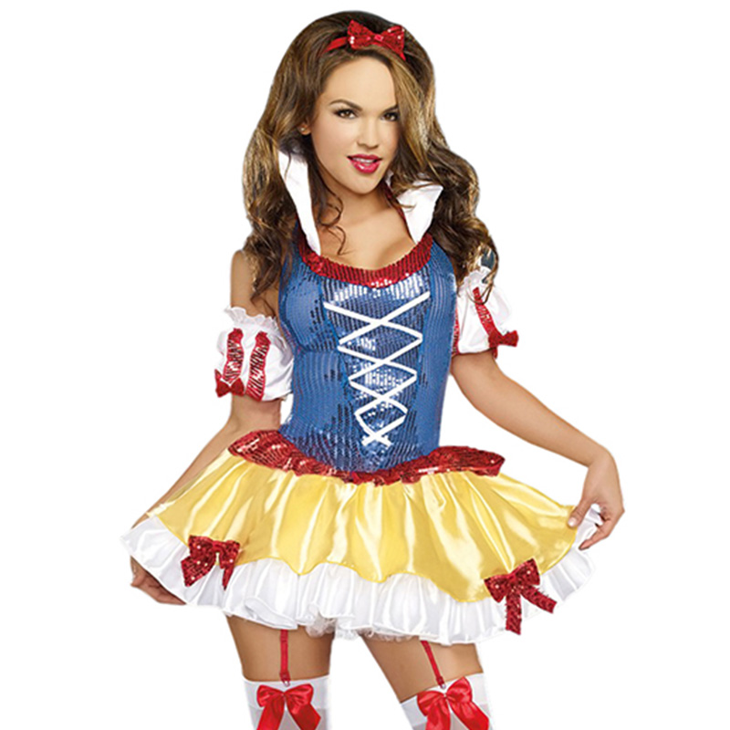 Ladies Snow White Adult Costume For Women Sexy Carnival Sequin Princess Fancy Dress Up -7551