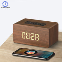 Bluetooth Speaker Fm Radio Alarm Clocks Backlight Desktop Home Decor Wooden Wireless Clockhome Support Aux Tf Usb Music Player