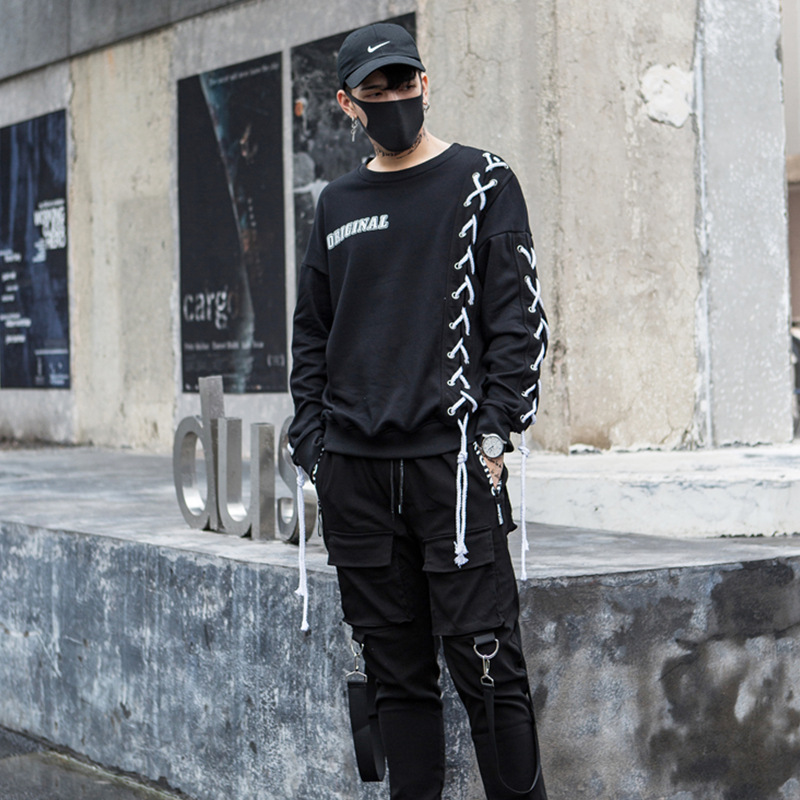 Men's Hip-hop Sweatshirt Fashion Casual Harajuku Streetwear Hoodie Male Punk Gothic Long Sleeve Sweatshirts