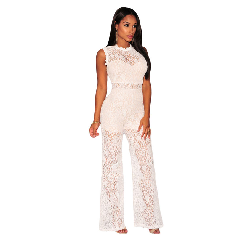 New fashion 2018 Summer Sexy Graceful White/Black Lace Nude Illusion Rompers Womens Jumpsuit Overalls Club Wear LC60828