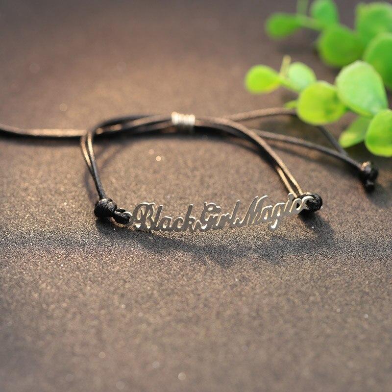 Personalized Name Women Bracelets Customized Name Black Rope Bracelets Christmas Gift