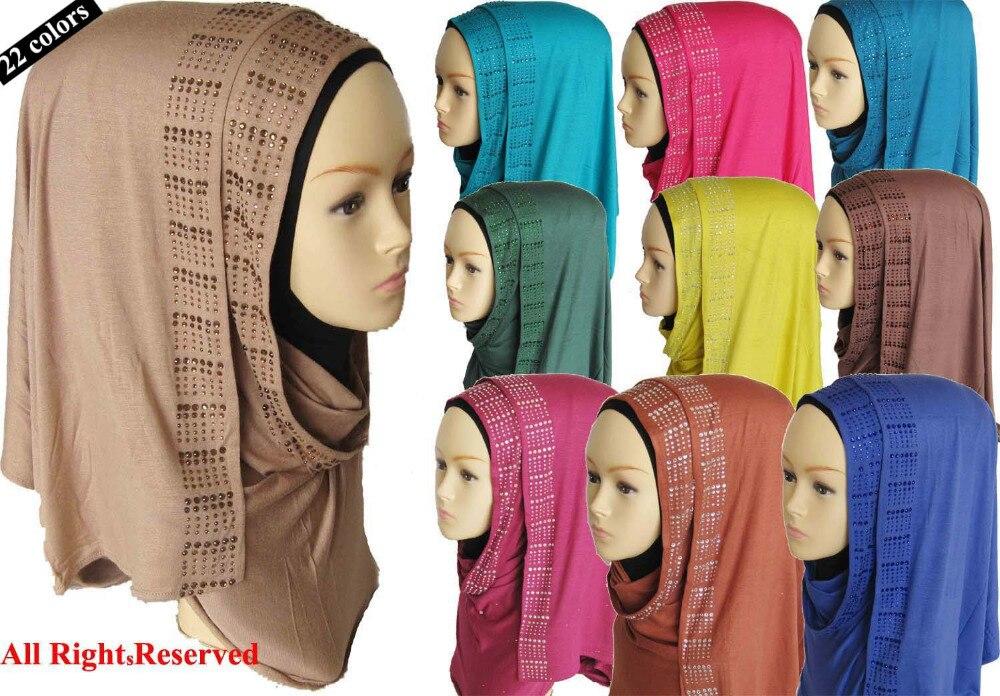 13 off muslim cotton jersey hijab scarf Women Strech large Rhinestones hijab shawl 170 50cm