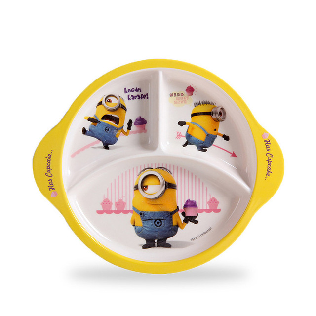 fashion cute minions kids lunch box dinner plates melamine dishes fruit bowl sushi plate decorative divide - Melamine Dishes