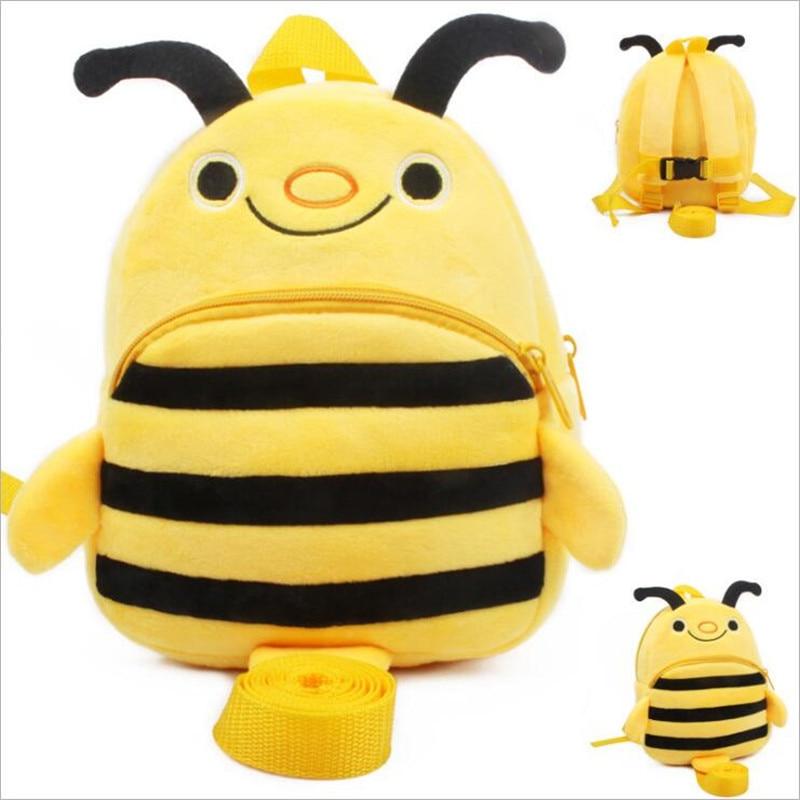New Arrival Super Kawaii Bee Plush Backpacker Cartoon Animal Kids School Bags Children Birthday Christmas Gifts