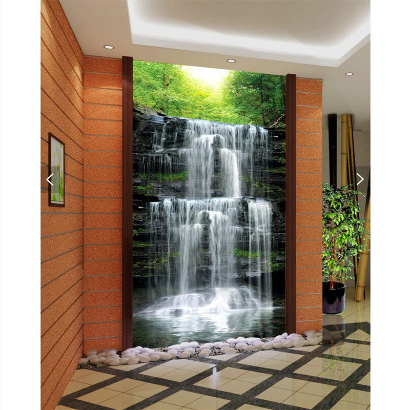 Buy wall paper 3d art mural hd waterfall for Wallpaper of home wall