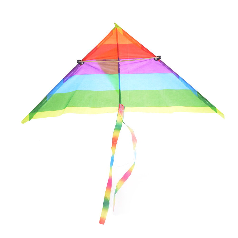 60*40cm Nylon Rainbow Kite Easy To Assemble Beginner Kite For Kids Outdoor Games Activities Without Control Bar Line Baby Toys