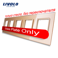 Livolo Luxury Golden Crystal Glass Switch Panel 364mm 80mm EU Standard Quintuple Glass Panel For Wall