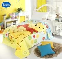 Disney Winnie the Pooh Print Blanket Cartoon Character 150*200CM Size Children's Home Decor Polyester Yellow Coral Fleece Fabric
