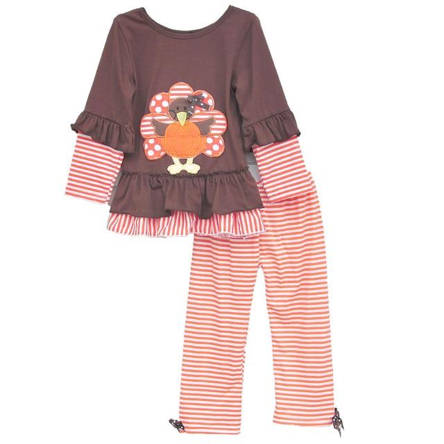 cb76ab7399a4 Custom Halloween Baby Girls Outfits Pretty Thanksgiving Turkey Top ...