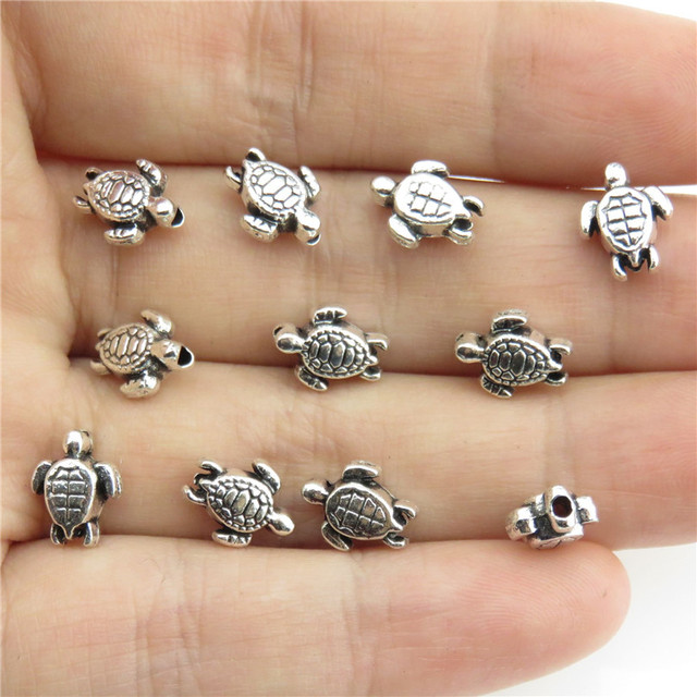 20976 80pcs/lot Vintage Silver Alloy Animal 9mm Sea Turtle Spacer Beads for Brac