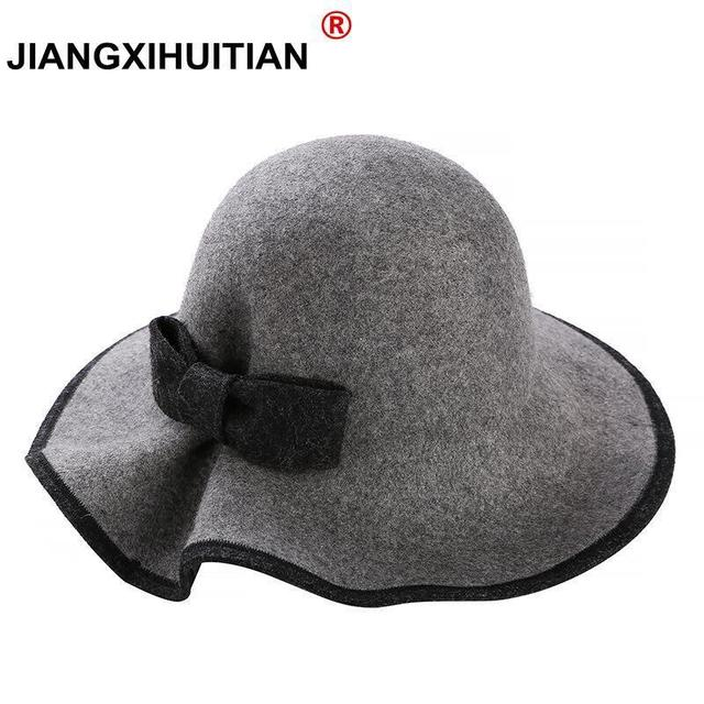 4e68940d13a 2018 New Spring 6 Colors Ladies Warm Hats Women Soft Vintage 100%Real wool  Bowler
