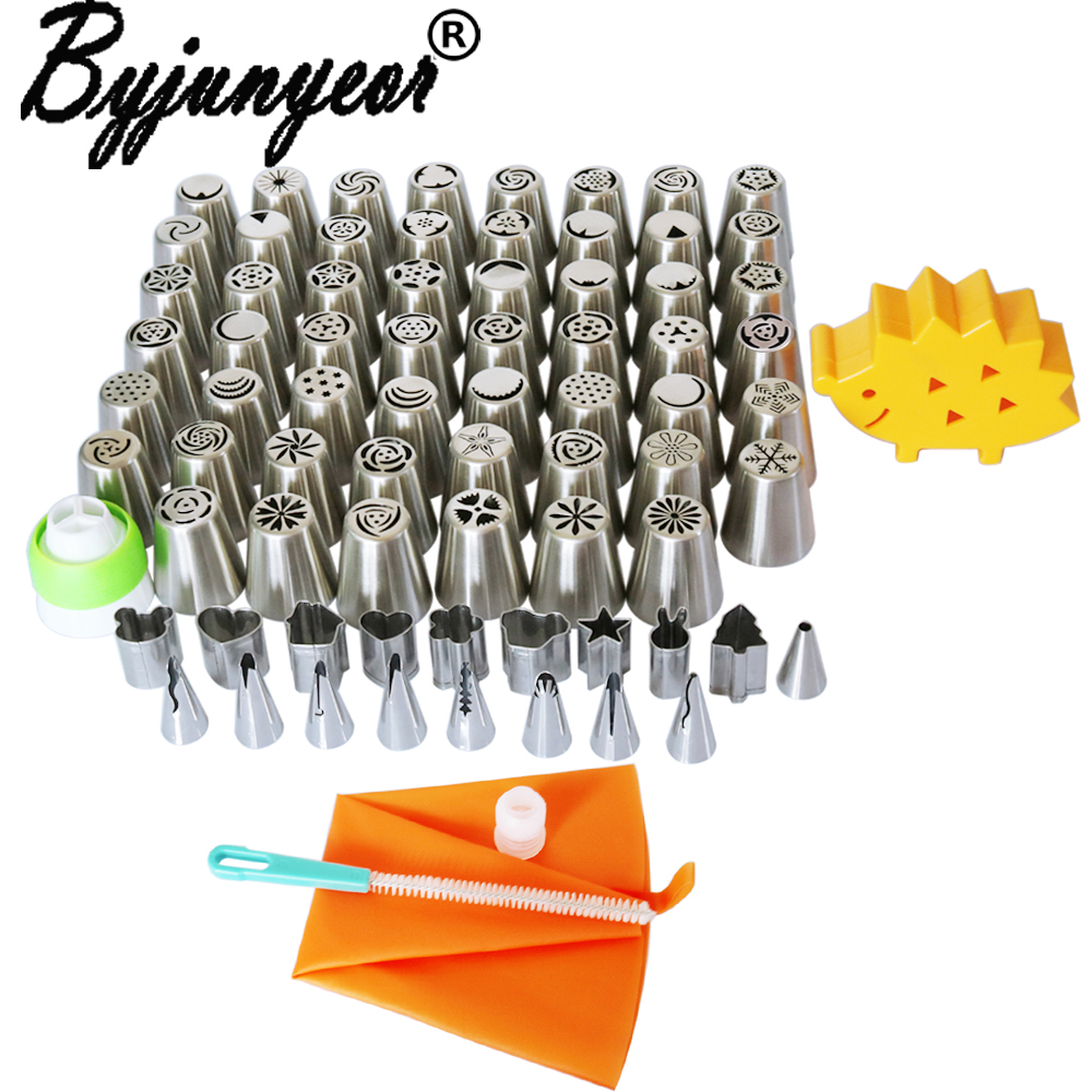 76pcs Stainless Steel Russian Tulip +Fruit Cut Rose Icing Piping Nozzles Tip Cake Decorating Pastry Baking Tool Kitchen CS093