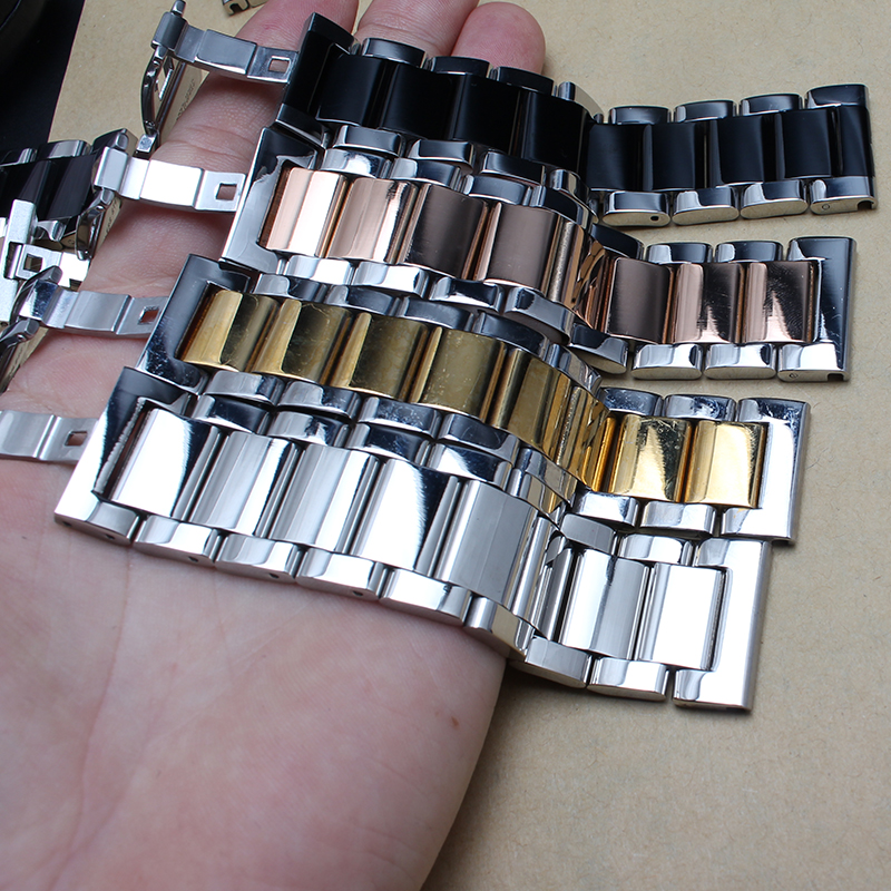 Colorful Stainless steel watchband Bracelets Silver Gold Rose gold Black Mixed Color Watch accessories 18mm 20mm 22mm promotion gold watchband for luxury watches brand stylish watches accessories 18mm 20mm 22mm fashion thiner bracelets promotion price new