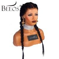 BEEOS 150% מראש קטף מלא תחרת פאות שיער אדם ישר טבעי קשרים מולבנים פאת שיער רמי מלזי עם שיער מפרץ שחור