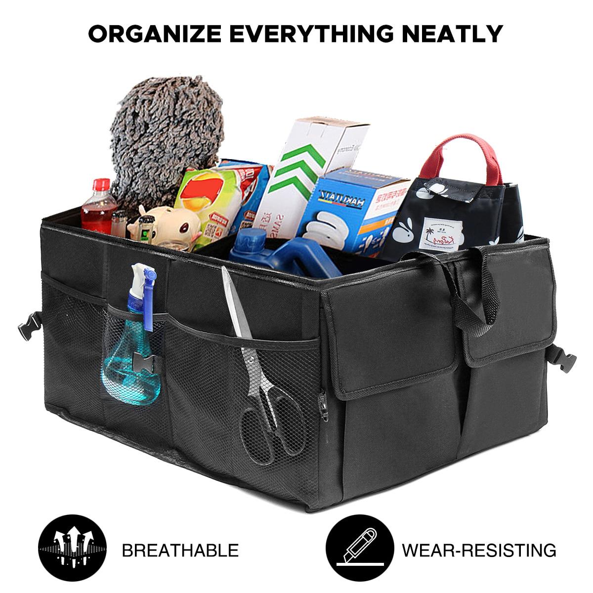 Black Foldable Car Auto Back Rear Trunk Seat Big Storage Bag Pockets Organizer Portable Car Large Capacity Storage Box