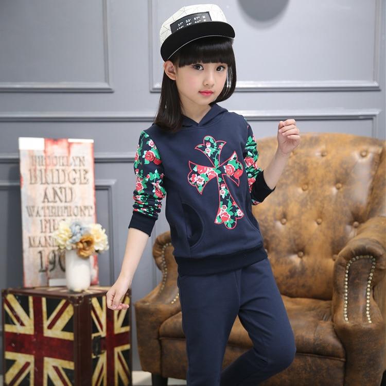 2017 autumn new children girls cotton sweater sports suit 2-12 year-old girl three-piece suit sports set