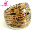 RED SNAKE Fashion Ring Handmade Golden with Leopard print Murano Glass Rings