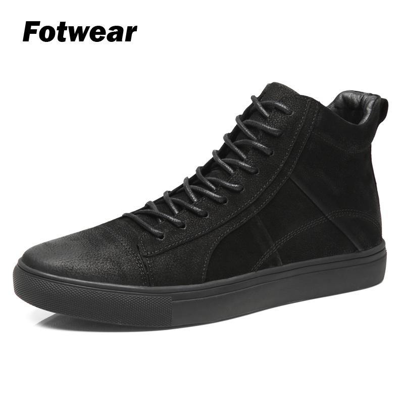Fotwear Men Leather Sneakers Leather Casual Shoes High-top Black Fashion With Lace Up Good Wearing With Jeans Soft Outsole