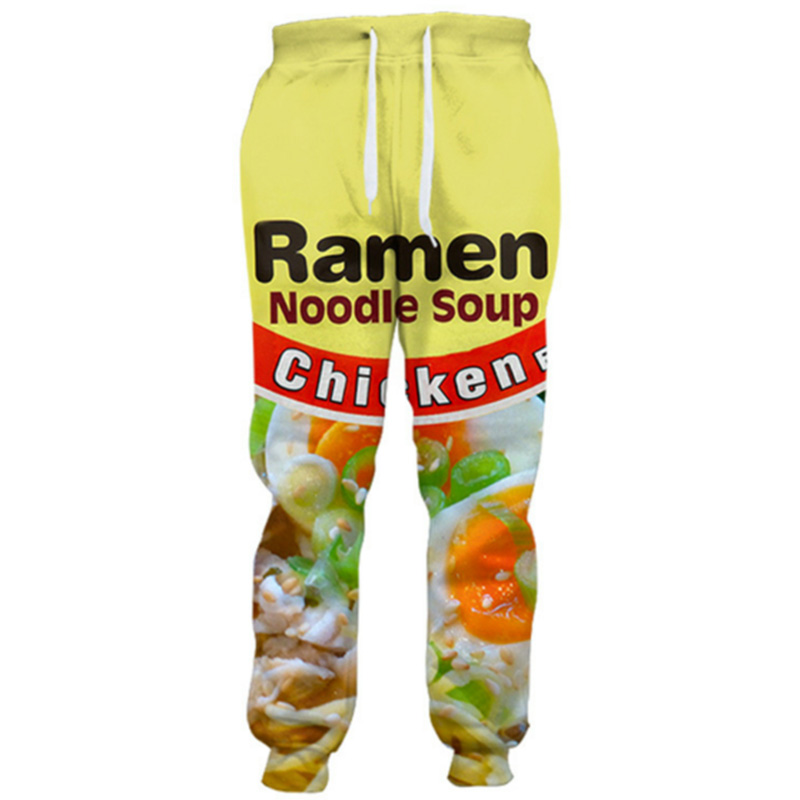 Cloudstyle 2019 Fashion 3D Long Pants Men Ramen Noodle 3D Full Print Sweatpants Straight Harajuku Streetwear Casual Trousers