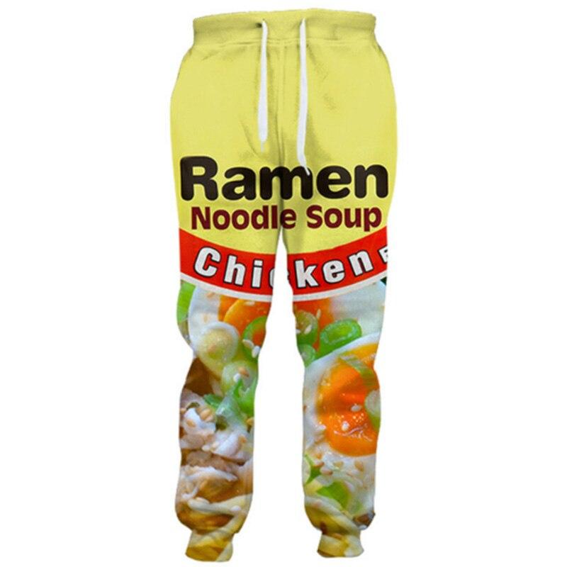 Cloudstyle 2020 Fashion 3D Long Pants Men Ramen Noodle 3D Full Print Sweatpants Straight Harajuku Streetwear Casual Trousers