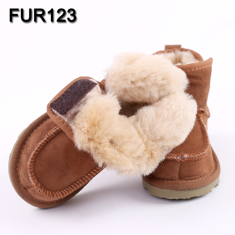 купить Baby Snow Boots for boys and girls Kids Snow Boots Sheepskin Real Fur Shoes Children Geanuine Leather Australia Shoes онлайн